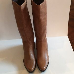 Knee high tan leather boots